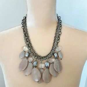 """Chico's beige silver 3 strand beaded necklace 17"""""""